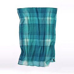 Lands' End - Green turquoise plaid scarf