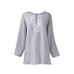 Lands' End - Grey plus embroidered linen tunic