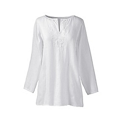 Lands' End - White plus embroidered linen tunic