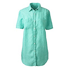 Lands' End - Blue plus short sleeve plain linen shirt