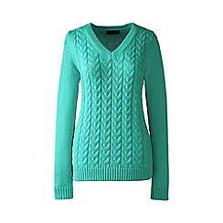 Lands' End - Green regular drifter cable v-neck