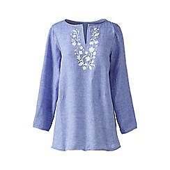Lands' End - Blue petite embroidered linen tunic