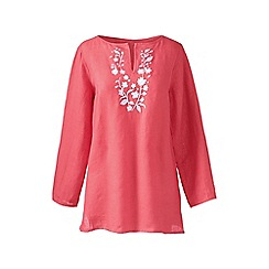 Lands' End - Orange petite embroidered linen tunic