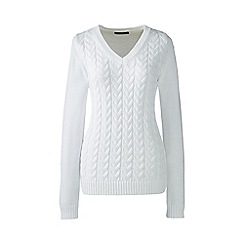 Lands' End - White petite drifter cable v-neck