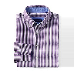 Lands' End - Purple boys' smart checked poplin shirt