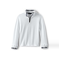 Lands' End - White boys' half-zip pique pullover