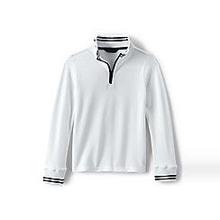 Lands' End - White boys' half-zip pique pullover