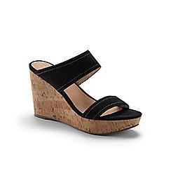 Lands' End - Black two-strap wedge sandals