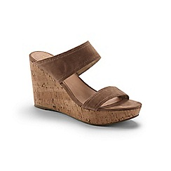 Lands' End - Beige two-strap wedge sandals