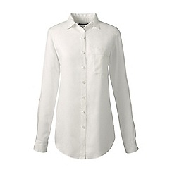 Lands' End - Cream regular soft roll-sleeve shirt