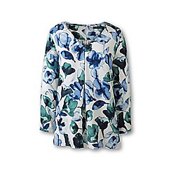 Lands' End - Blue plus soft floral three-quarter sleeve v-neck tunic