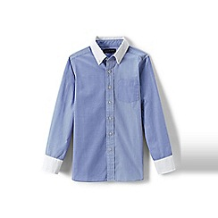 Lands' End - Blue boys' smart patterned poplin shirt