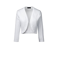 Lands' End - Plus size White fine gauge supima shrug