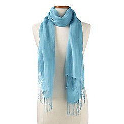Lands' End - Blue  plain linen/viscose scarf