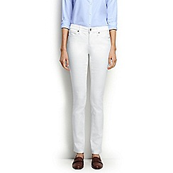 Lands' End - White regular mid rise slim leg stain repellent white jeans