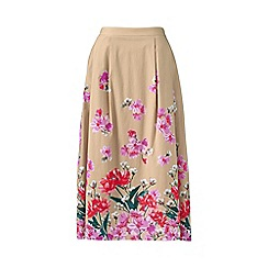 Lands' End - Beige stretch woven petite print midi skirt