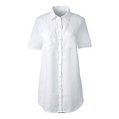 Lands' End - White petite short sleeve plain linen shirt