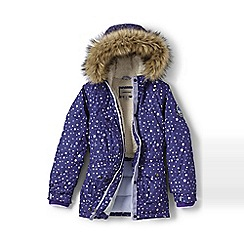 Lands' End - Girls' purple patterned expedition parka