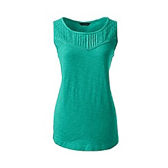 Lands' End - Green regular slub jersey broderie anglaise vest top