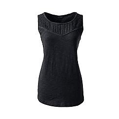 Lands' End - Black regular slub jersey broderie anglaise vest top