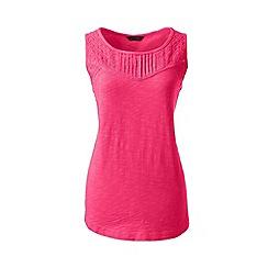Lands' End - Pink regular slub jersey broderie anglaise vest top