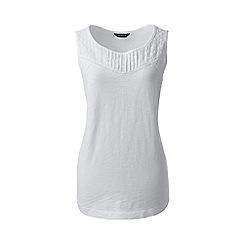 Lands' End - White regular slub jersey broderie anglaise vest top