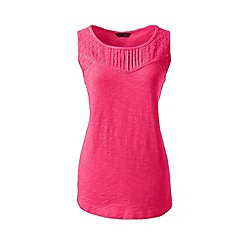 Lands' End - Pink petite slub jersey broderie anglaise vest top
