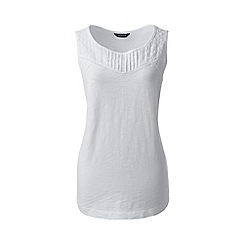 Lands' End - White petite slub jersey broderie anglaise vest top
