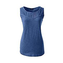 Lands' End - Blue petite slub jersey broderie anglaise vest top