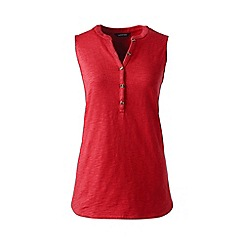 Lands' End - Plus size Red sleeveless henley top
