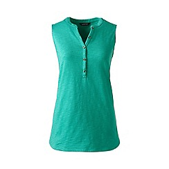 Lands' End - Plus size Green sleeveless henley top