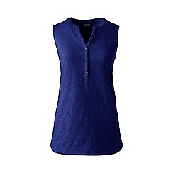 Lands' End - Plus size Blue sleeveless henley top