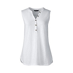 Lands' End - Plus size White sleeveless henley top