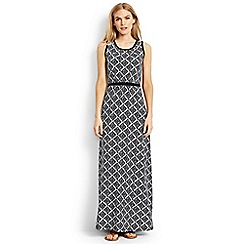Lands' End - Black Plus Size print stretch jersey maxi dress