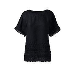 Lands' End - Black regular embroidered linen tee
