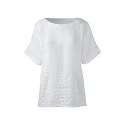 Lands' End - White regular embroidered linen tee