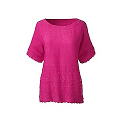 Lands' End - Purple Plus Size embroidered linen tee
