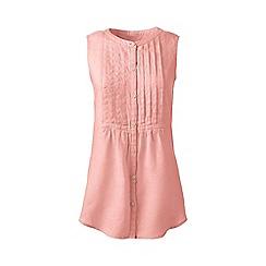 Lands' End - Pink regular pintuck linen sleeveless shirt