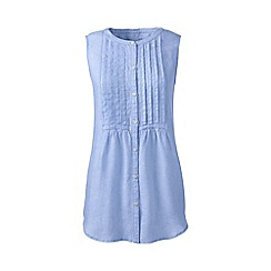 Lands' End - Blue regular pintuck linen sleeveless shirt