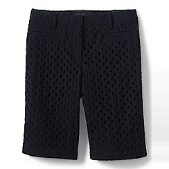 Lands' End - Black regular eyelet shorts