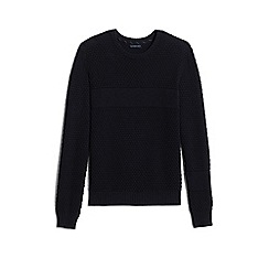 Lands' End - Black cotton/merino textured sweater