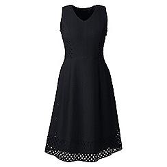 Lands' End - Black regular broderie anglaise v-neck dress