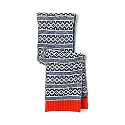 Lands' End - Cream double knit fair isle scarf