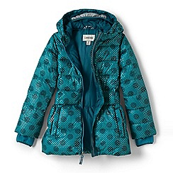 Lands' End - Girls' green midweight patterned skirted down parka