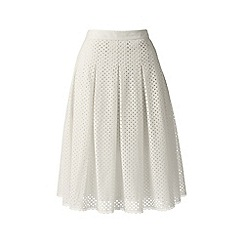 Lands' End - Cream eyelet lace pleated skirt