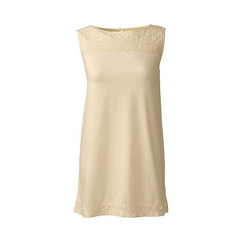 Lands+ End - Cream petite cotton/modal sleeveless lace tee