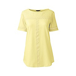 Lands' End - Gold petite cotton/modal boatneck lace tee