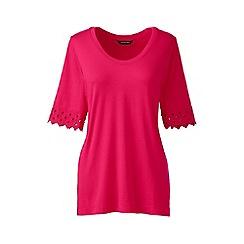 Lands' End - Pink regular elbow sleeve a-line top