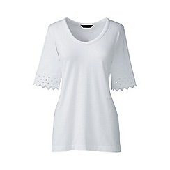 Lands' End - White Petite elbow sleeve a-line top