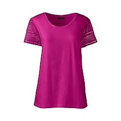 Lands' End - Pink regular lace sleeve tee